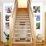 Gerade Treppe, Buche, Edelstahlsprossen, Handlauf gerundet, glatter Pfosten, beidseitiges Geländer, Blockstufe